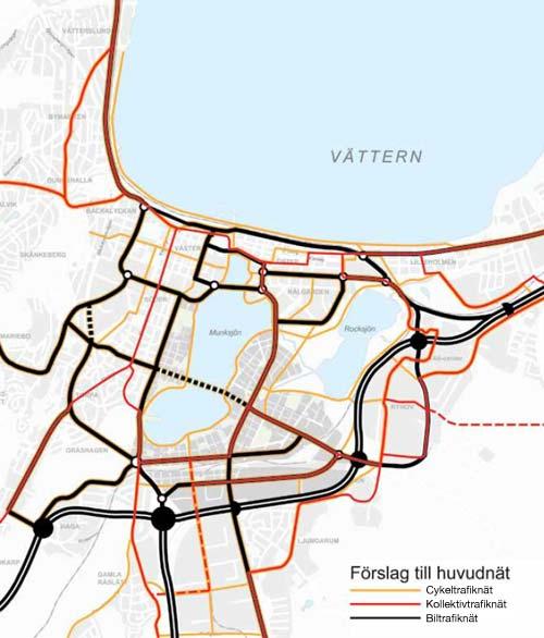 Karta över trafiknätet i Jönköping