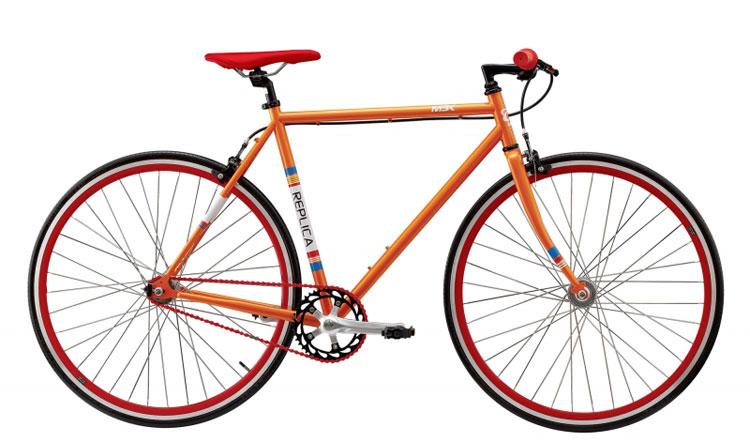 MBK Fixie i orange lack med röda detaljer.