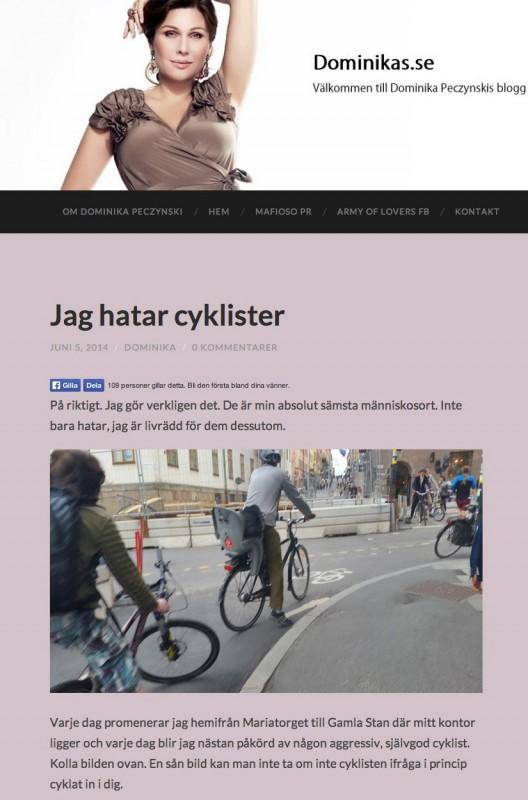 Skärmdump från den blogg som Dominika Peczynski äger
